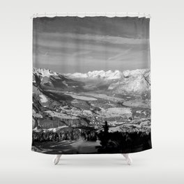 Innsbruck In Winter From Patscherkofel Mountain black white Shower Curtain