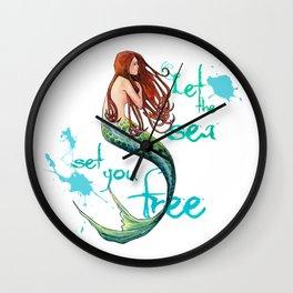 Mermaid: Let the sea set you free Wall Clock