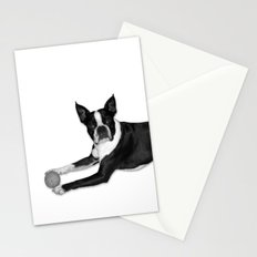 Fetch Boston Terrier B/W Stationery Cards