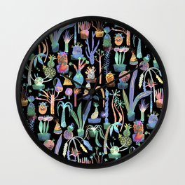 Nocturnal lush garden - Dreamy cacti and succulents plants Wall Clock