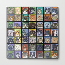 Cats and Dogs in Black Metal Print