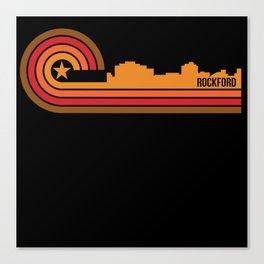 Retro Style Rockford Illinois Skyline Canvas Print