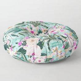 JUNGLE ROMANCE Mint Blush Tropical Floral Floor Pillow