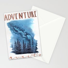 """Adventure Awaits"" watercolor galaxy landscape illustration Stationery Cards"