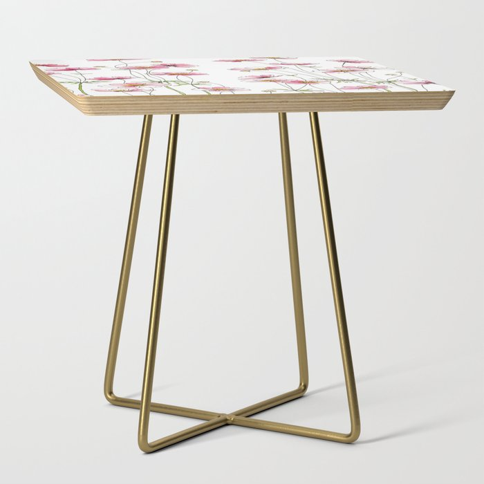 Pink Cosmos Flowers Side Table