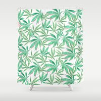 cannabis Shower Curtains featuring 420 Leaves by Bryan James