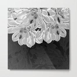 Elegant Black and White Flowers Design Metal Print