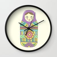 russian Wall Clocks featuring Russian Doll by haleyivers