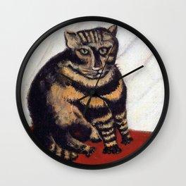 Henri Russeau, Tabby 1963, Naive Cat Artwork for Wall Art, Prints, Posters, Tshirts, Men, Women, You Wall Clock