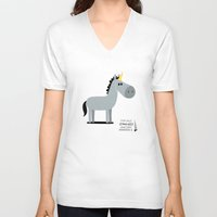 unicorn V-neck T-shirts featuring Unicorn by Jean-Sébastien  Deheeger