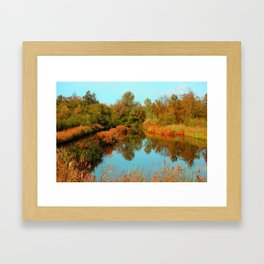 Autumn Colors Pond and Trees Framed Art Print