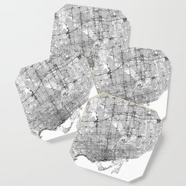 Toronto White Map Coaster