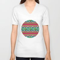 aztec V-neck T-shirts featuring Aztec by Shelly Bremmer