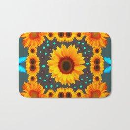 Blue Butterflies Golden Sunflowers Teal Art Bath Mat
