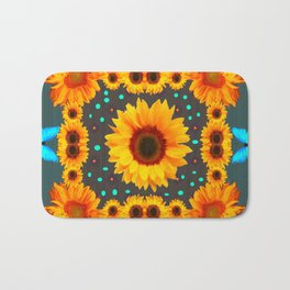 Blue Butterflies Golden Sunflowers Teal Art Bath Mat