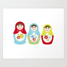 Matrioshka Dolls - Trio Art Print