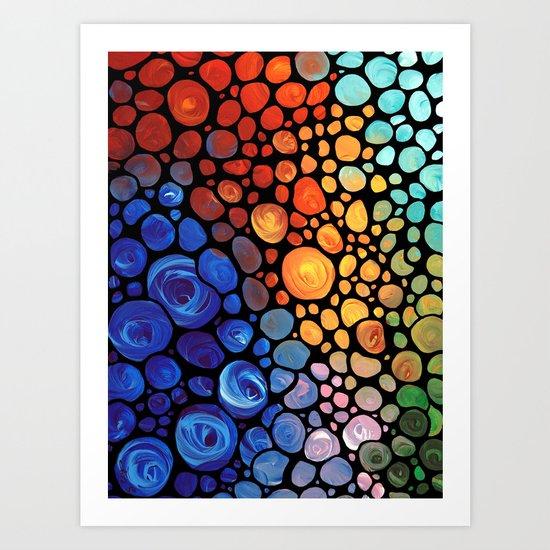 Abstract 1 - Beautiful Colorful Mosaic Art by Sharon Cummings Art Print