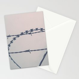 Close up of barbwire fence Stationery Cards