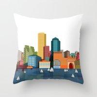 boston Throw Pillows featuring Boston  by GoFe