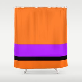 Solid Color Orange w/ Purple and Black Divider Lines - Halloween Illustration Abstract Art Shower Curtain