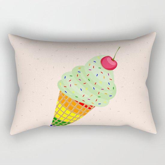Colorful Ice Cream Cone Design Rectangular Pillow