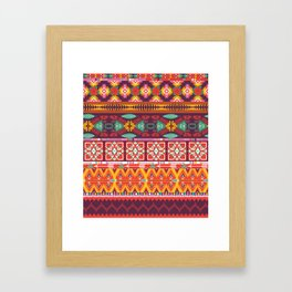 Seamless colorful aztec carpet with birds,flowers and arrow Framed Art Print