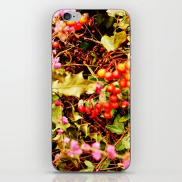 Winter blossom and berries iPhone Skin