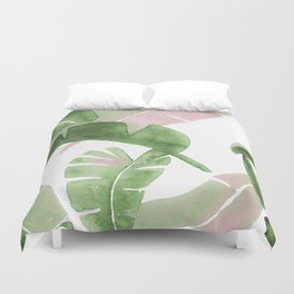 Tropical Leaves Green And Pink Duvet Cover