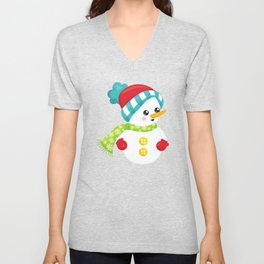 Snowman With Hat, Scarf, Gloves, Carrot Nose Unisex V-Neck