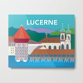 Lucerne, Switzerland - Skyline Illustration by Loose Petals Metal Print