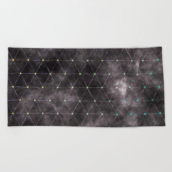 Galaxy - modern abstract dark grunge triangles pattern Beach Towel