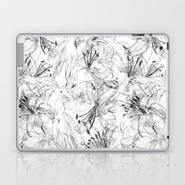 lily sketch black and white pattern Laptop & iPad Skin