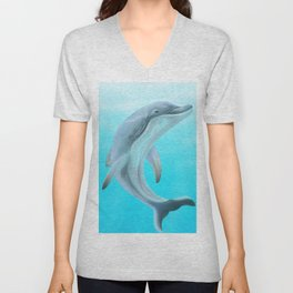 Dolphins Swimming in the Ocean Unisex V-Neck