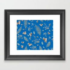 blue holiday corgis and twigs Framed Art Print