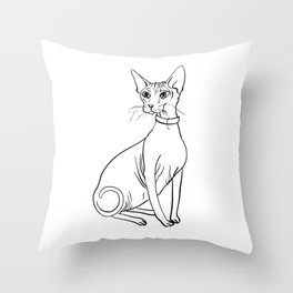 Elegant Sphynx Kitty - Line Art - Minimal Black and White Throw Pillow