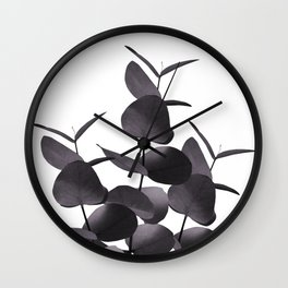 Eucalyptus Leaves Black White #1 #foliage #decor #art #society6 Wall Clock