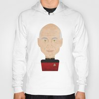 picard Hoodies featuring Captain Picard by Sam Del Valle