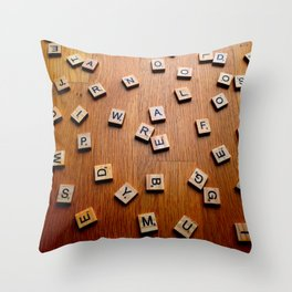 Scrabble letters Throw Pillow