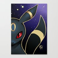 umbreon Canvas Prints featuring UMBREON by goldhedgehog