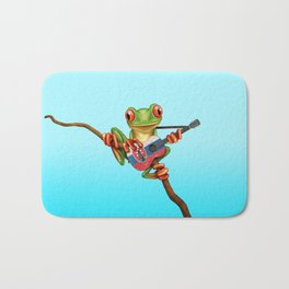 Tree Frog Playing Acoustic Guitar with Flag of Slovakia Bath Mat