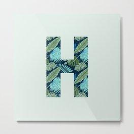 Jungle Palm Trees Initial Monogram Letter H Metal Print