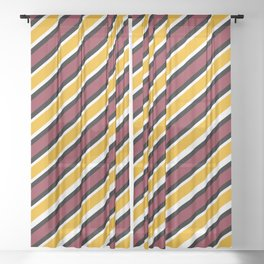 TEAM COLORS 1…Maroon Gold black and white diagonal stripe Sheer Curtain
