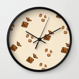 watercolor chocolate with coffee beans Wall Clock