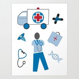 Wellness Health Medical Symbols Doctors and  Nurse Art Print
