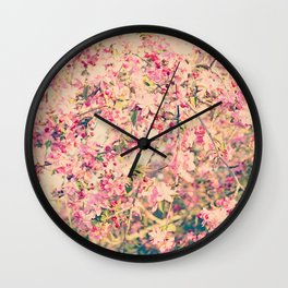 Vintage Pink Crabapple Tree Blossoms in the Sun Wall Clock
