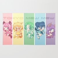 mew Area & Throw Rugs featuring Tokyo Mew Mew by Corpse Cutie