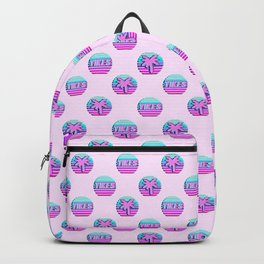 """Vaporwave pattern with palms and words """"yikes"""" #2 Backpack"""
