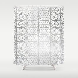 Modern silver stars geometric pattern Christmas white marble Shower Curtain