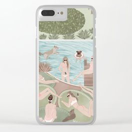 Girls by the swimming pool Clear iPhone Case