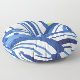Lime and blue abstract landscape Floor Pillow